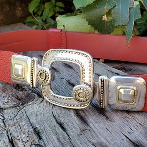 🥀CHICO'S Red Leather Silver Gold Hook Belt S/M
